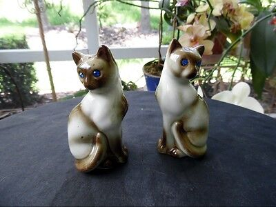 Vintage Pair Siamese Kitten Cats Salt and Pepper Shakers Set with Big Blue Eyes
