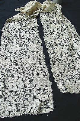 ANTIQUE 1800s VICTORIAN EDWARDIAN LONG IVORY COLOR SILK LACE SASH