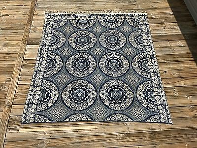 Antique Blue White Coverlet Double Sided 2 Piece UNUSUAL PATTERN! Jacquard 1850s