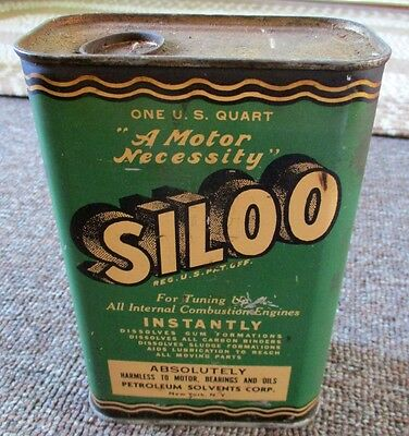 "RARE 1950s ""SILOO"" MOTOR TREATMENT OIL Quart CAN...L@@K!"