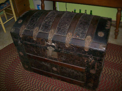 1890's CAMELBACK TRUNK Metal w Wood Interior MISSING INSERT & LEATHER STRAPS