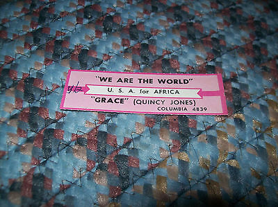 USA FOR AFRICA We Are The World JUKEBOX TITLE STRIP Has Writing MICHAEL JACKSON