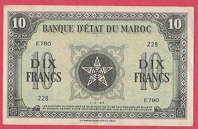 1944 Morocco 10 Franc Note