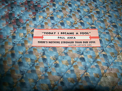 PAUL ANKA Today I Became A Fool There's Nothing Stronger JUKEBOX TITLE STRIP UA