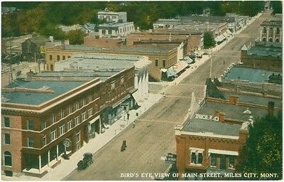 c1910 Miles City Montana Birds Eye View of Main Street