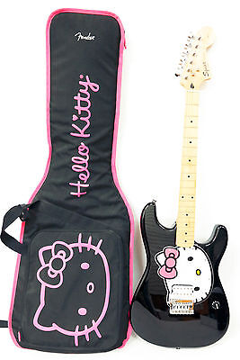 Squier Hello Kitty Stratocaster Electric Guitar Black Pink w/ Humbucker Pickup
