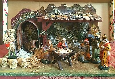 Vintage 12 Pc Western Germany US Zone 1944 Nativity Creche w/12 Figures~Complete