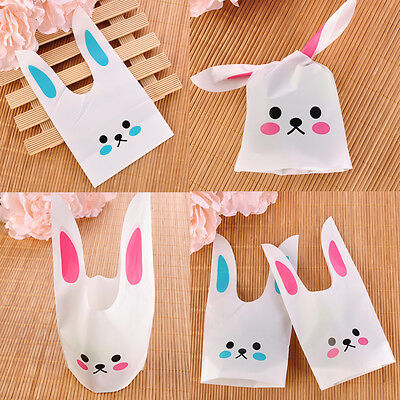 50X Cute Rabbit Ear Cookie Bags Self-adhesive Plastic for Biscuit Snack Bag Pack