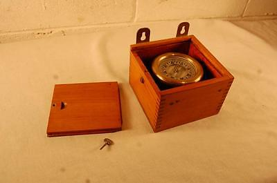 Vintage Boat Ship Compass In Wood Case Marked Made In Usa 4-45