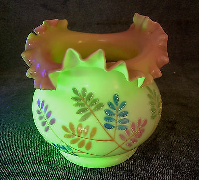 Antique Mount Washington Vaseline & Pink Cased Glass Fern Leaf Vase American Art