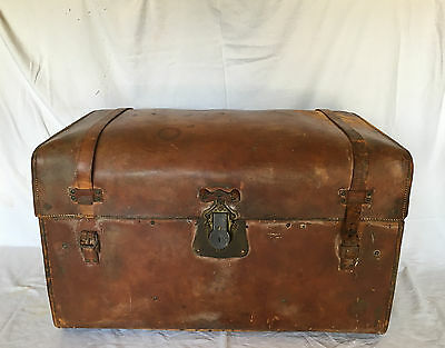 ANTIQUE LATE 1800s MARTIN MAIER SOLE LEATHER TRAVELERS TRUNK