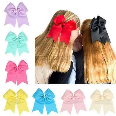 8'' Large Cheer Bow Hair bands Solid Color Girls Cheerleading with Elastic Band