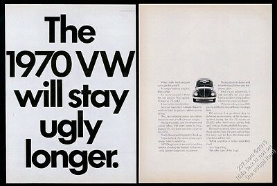 1970 VW Volkswagen Beetle classic car photo Will Stay Ugly Longer 20x13 print ad