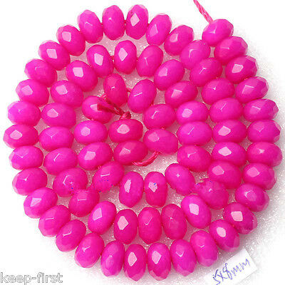 """5x8mm Natural Rose Red Faceted Jade Gemstone Loose Beads Strand 15""""AAA DIY"""