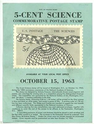 United States Post Office Bulletin 5 Cent Commemorative Stamp The Sciences