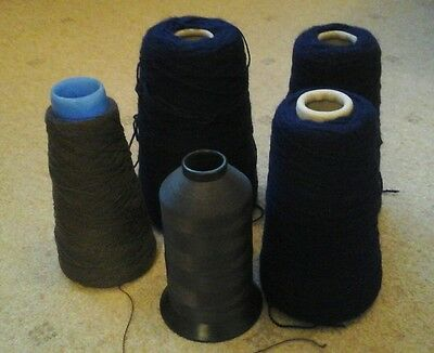 machine knitting wool cones and cottons joblot brown and blue