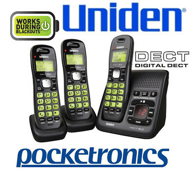 Uniden DECT 1635 +2 TRIPLE Black answering machine cordless phone 3 handsets NEW