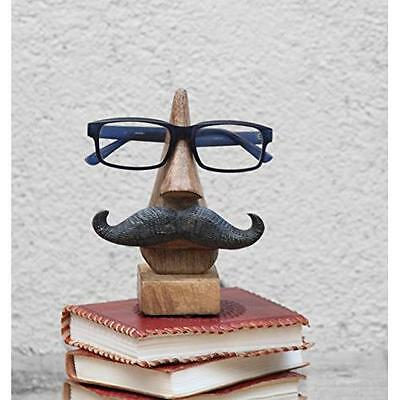 Witty Hand Carved Wooden Eyeglass Spectacle Holder with an Amusing Mustache Home