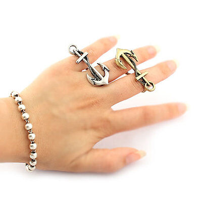 Vintage Style Antique Silver & Bronze Nautical Anchor Double Finger Rings,#R118