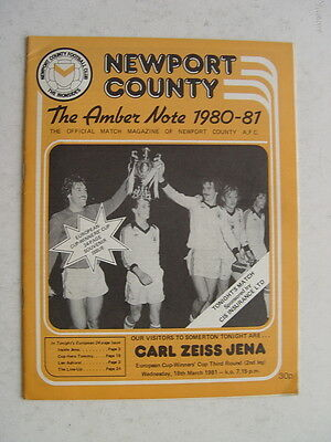 Newport County v Carl Zeiss Jena 1980/81 Cup Winners Cup