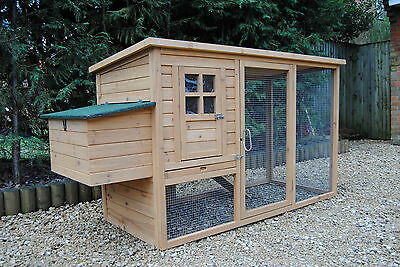 Chicken Coop Poultry Rabbit Cat House & Run CC047 up to 4 hens Opening Roof