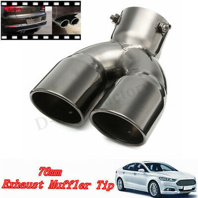 "76mm 3"" Universal Car Twin Double Exhaust Tailpipe Tail Trim Pipe Tip Muffler"