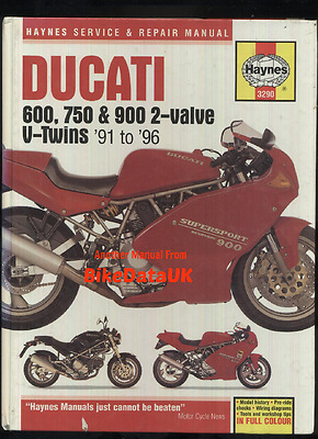 Haynes Manual Ducati 900 750 600 (1991-1996) SS SL M Monster Super Light Book