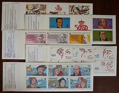 Spain 1992: 500th Anniv. Discovery America: 5 mint Booklets, perfect, different