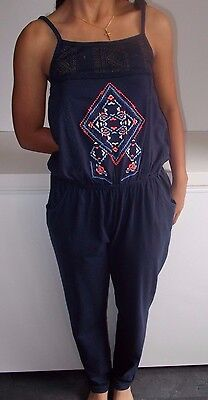 Girls Lovely Navy Cotton Sleeveless Jumpsuit Age 11 Years By NEXT