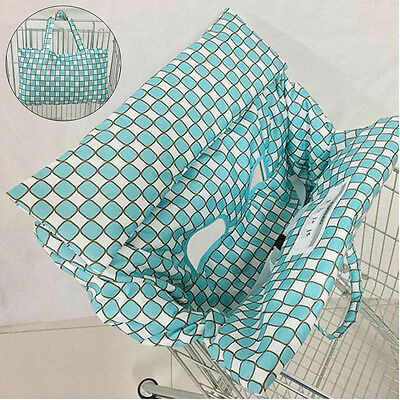 Blue Baby Shopping Trolley Cart Seat Pad Child Chair Cover Protector Foldable
