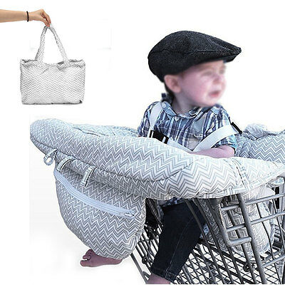 Gray Baby Portable Shopping Cart Cover Strap Trolley Safety High Chair Seat Pad