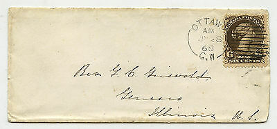 Canada 6c Large Queen Ottawa CW July 28 1868 to Illnois USA - early usage