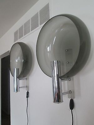 Super !!! Vintage Pair Of Baughman Era Large Chrome & Lucite Wall Sconces Mcm