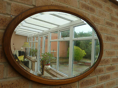 Large Antique Vintage Victorian Oak Oval Wall Mirror