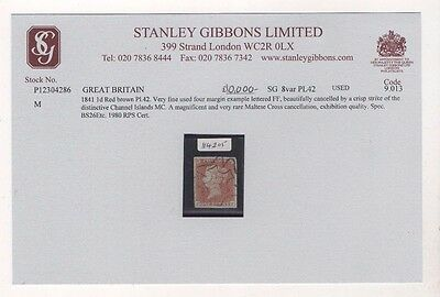 Channel Islands Maltese Cross On Gb 1841 Imperf Penny Red With Rps Cert. Rare