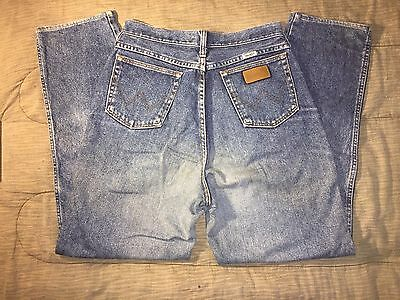 Vintage Womens WRANGLER Cowgirl Blue Denim Distressed Jeans 28x29 Made in USA