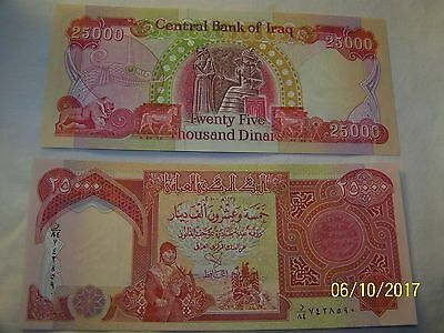 New Crsip Uncirculated Iraq 25,000 Dinars Bank Notes
