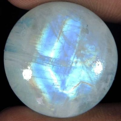 UNUSUAL 12mm ROUND CABOCHON-CUT NATURAL INDIAN RAINBOW MOONSTONE GEM