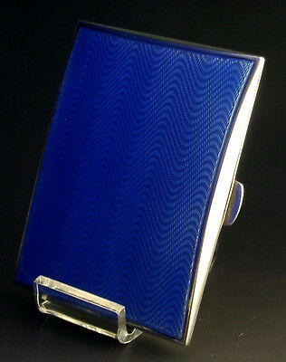 English Sterling Silver And Blue Guilloche Enamel Cigarette Case 1930 Antique