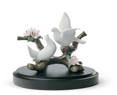 Lladro Doves On A Cherry Tree Brand Nib #8422 Birds Bridal Wooden Base Save$ F/s