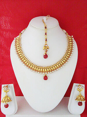 South Indian Jewelry New Necklace Set Bollywood Ethnic Gold Plated Traditional