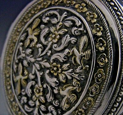 BEAUTIFUL INDIAN / CEYLON SILVER EMBOSSED SNUFF BOX c1900 ANTIQUE