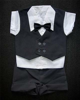 Charcoal Dark Grey BABY BOY SHORTS OUTFIT Special Occasion Suit Wedding Formal