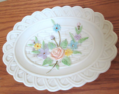 Lefton Ivory Hand Painted Bisque Porcelain Basket Weave Dish- NEW