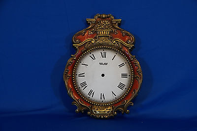 VINTAGE GERMAN WALL CLOCK CASE PARTS REPAIR Carved Red and Gold