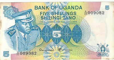 1973 5 Shillings Idi Amin Bank Of Uganda Currency Banknote Note Money Bill Cash