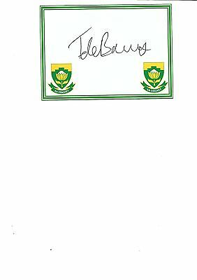 South Africa -  Theunis De Bruyn  (Hand Signed)