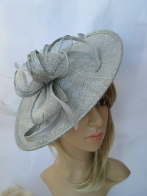 NEW SILVER GREY SINAMAY & FEATHER FASCINATOR HAT.Shaped saucer disc,Wedding.