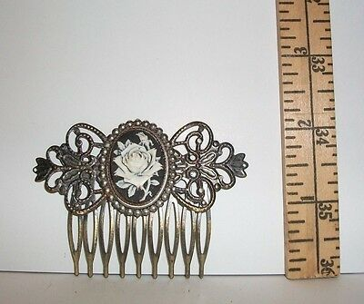 Vintage White Rose Filigree Hair Comb 2 And 1/8 Inches Tall