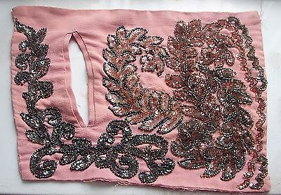 Sequined Bead Works, Decorative Art, Sewn  Fabric, Vintage Crystals Lot